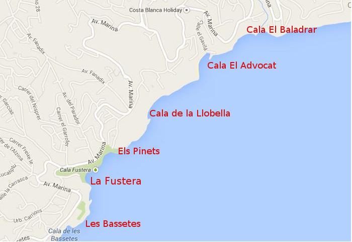 Пляжи северной части Кальпе (побережье Бениссы)